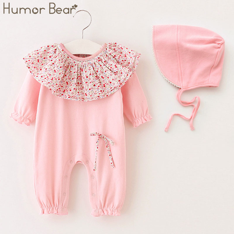 Humor Bear Baby Girl Clothes 2017 Infant Jumpsuit Baby suit Christmas Newborn Girls Flower collar +Hats 2PCS Baby Clothing Sets baby hats