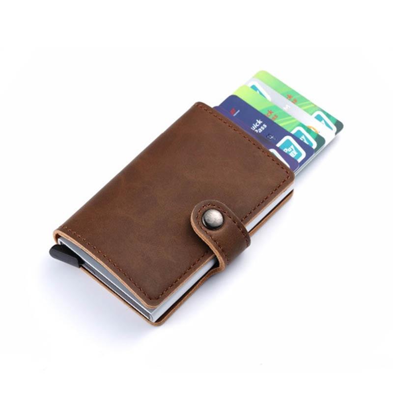 Bycobecy 2019 Unisex Metall Karte Halter RFID Aluminium Kreditkarte Halter Mit RFID Blocking Pu Leder Mini Magische Brieftasche 4 farbe