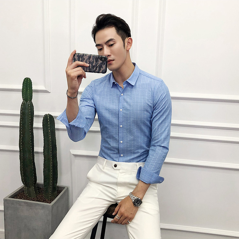 Shirts Intelligent 2019 Autumn And Winter New Mens Shirt Fashion Casual Color Spinning Wash Lattice Slim Long-sleeved Shirt Mens Tide Men's Clothing