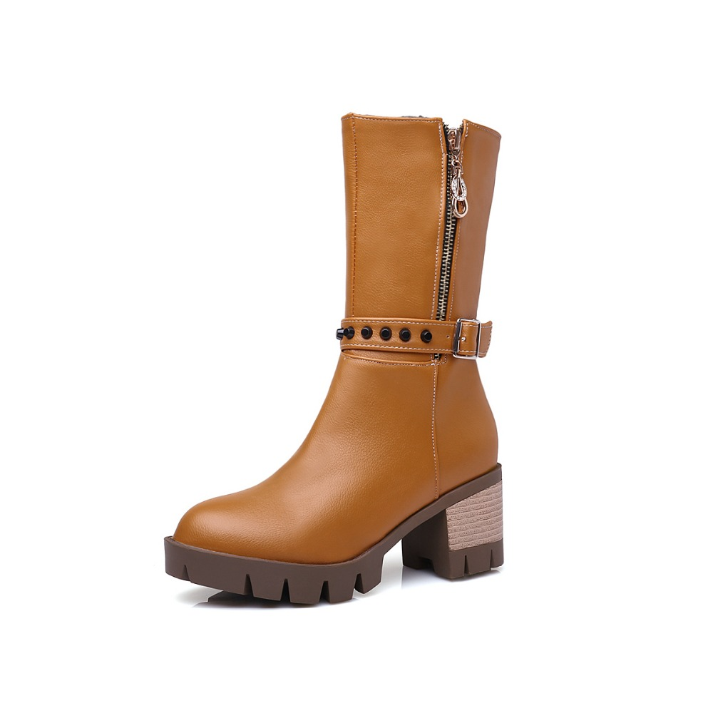 Fashion 4 Colors Women Mid-Calf Boots Popular Round Toe Square Heels Boots Black Brown Grey Red Shoes Woman US Size 4-10.5 enmayla fashion autumn women mid calf boots shoes women classic black shoes size 39 platform boots round toe motorcycle boots