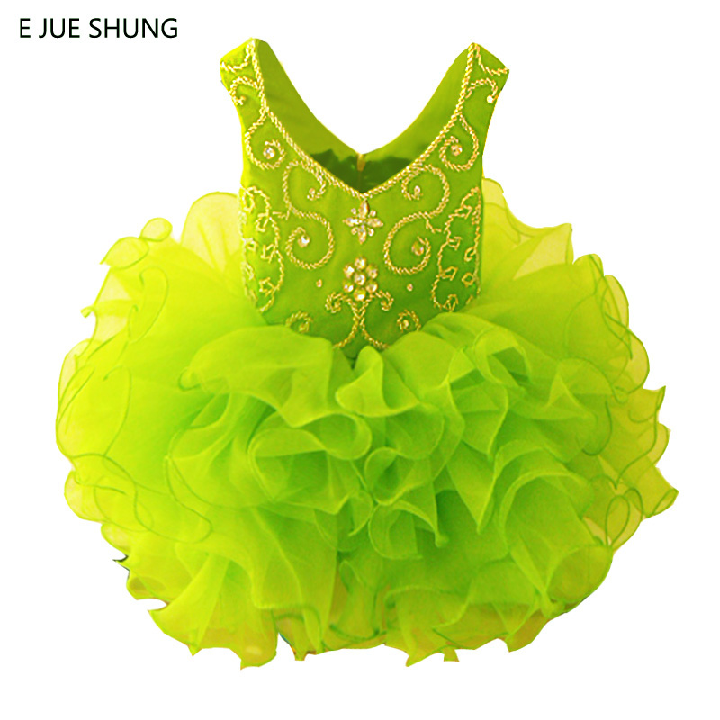 E JUE SHUNG Lemon Green Organza Mini cupcake   flower     girl     dresses   Beaded pageant   Girl     Dresses   infant toddler   dresses