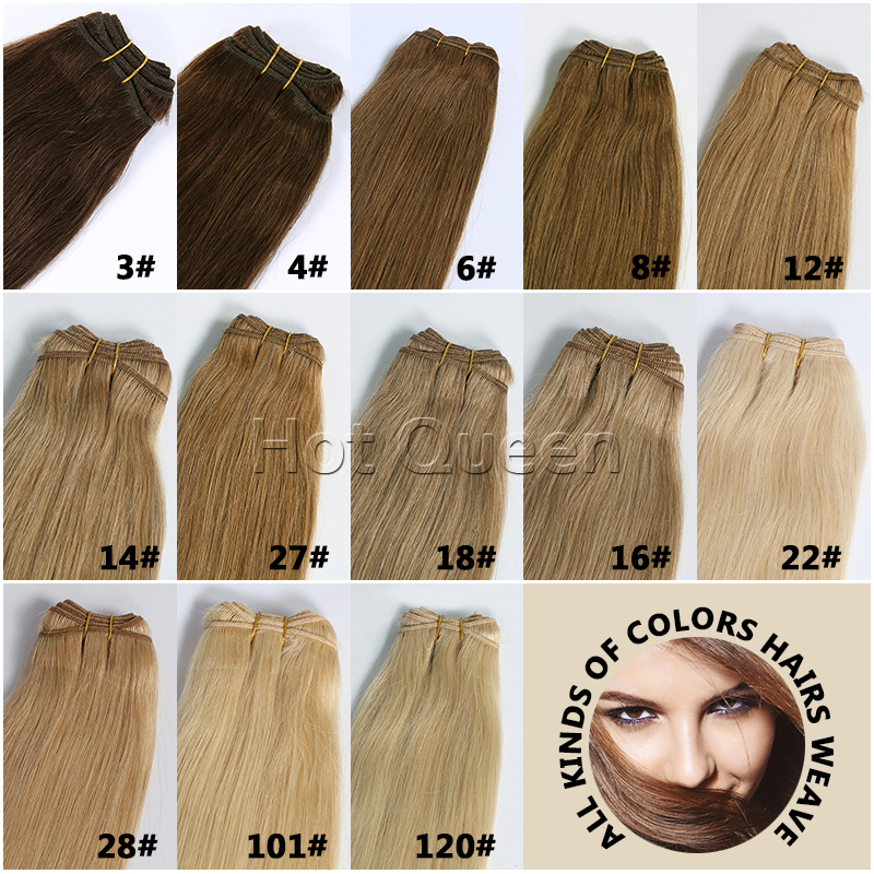 European Virgin Straight Hair Weaves Brown Blonde Colors European