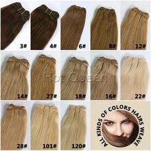 Europea Virgen Del Pelo Recto Teje Marrón Rubio Colores Europea Remy Hair Bundles 100g 6A Sin Procesar Virginal Del Pelo Recto