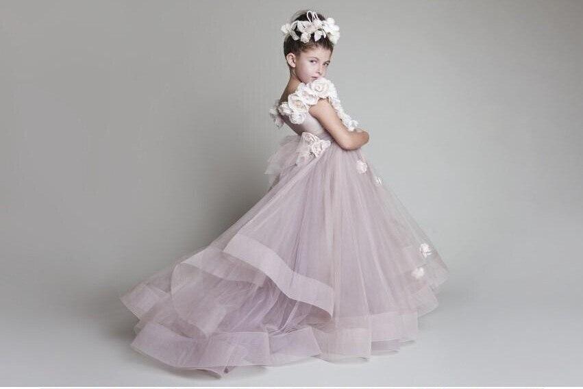 Charming 2016 Krikor Jabotian   Flower     Girl     Dresses   With   Flowers   A-line Real Sample Long Custom Tulle Toddler Pageant   Dresses