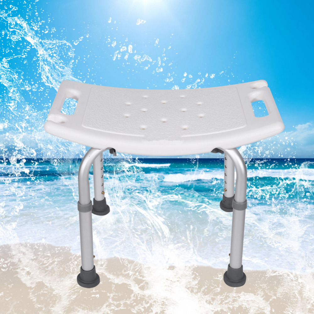 Shower Bath Stool Aluminum Alloy Seat Chair Without Back Adjustable ...