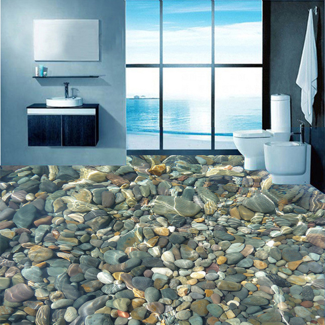 Modern 3d lifelike pebble flooring mural wallpaper for Black 3d tiles wallpaper