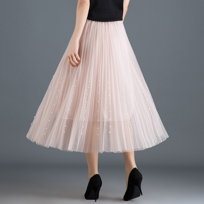 HTB1ou8QPgDqK1RjSZSyq6yxEVXag - New Spring Summer Skirts Womens Beading Mesh Tulle Skirt Women Elastic High Waist A Line Mid Calf Midi Long Pleated Skirt