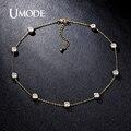 Umode 2016 4 projetos cúbicos de zircônia cristal ouro/branco/rose banhado a ouro choker colares jóias para mulheres collares UN0228