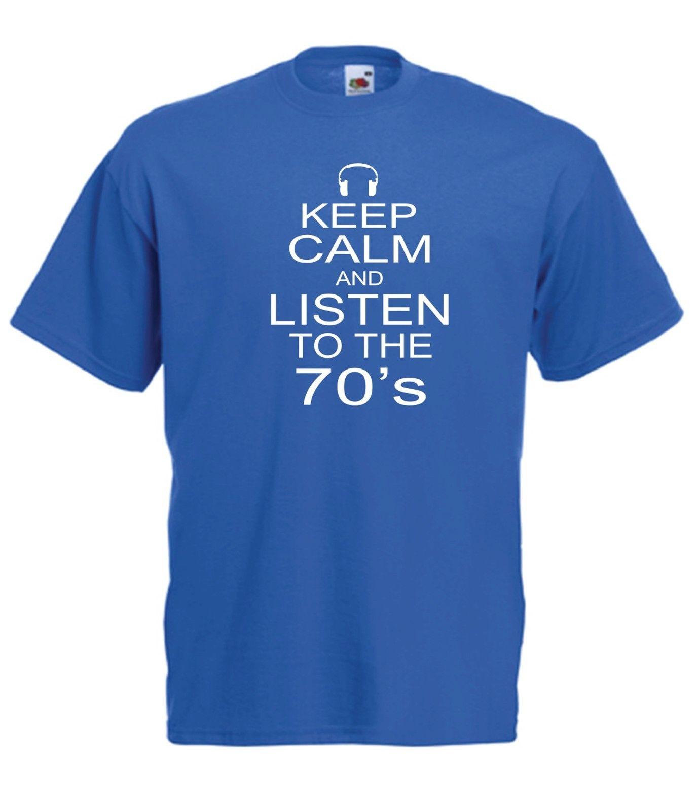 KEEP CALM 70S funny music party New Mens Womens T SHIRT TOP 8-16 s m l xl xxl Harajuku Tops Fashion Classic Unique
