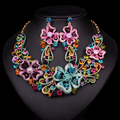 New Fashion Bridal Jewelry Sets Rhinestone crysta Necklace and Dangle Earrings for women girl Wedding decoration Accessories