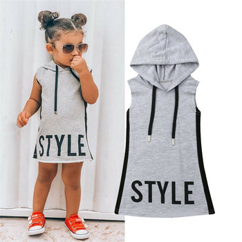 Baby Girl Pudcoco Clothes Hooded Dress For Kids Girls Dresses Summer Tunic Children Kid Letter Dress Casual Party Sundress 1-6T 2017 new fashion dresses girls lemon printed dress children sundress baby girl clothes bowknot dress for kids girl dress 2 color