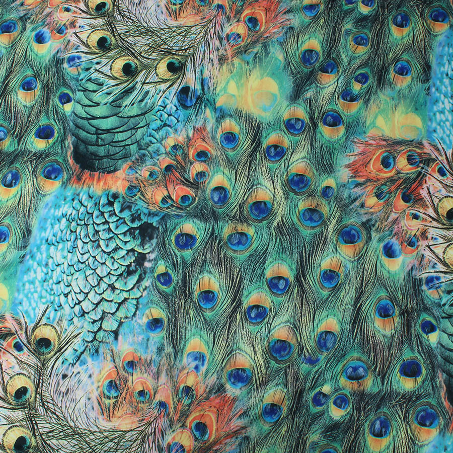 Knit Spandex Fabric Elastic Material Digital Print Peacock Swimwear Leotard Textile 155cm Wide By Yard