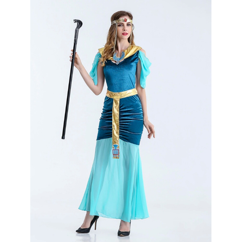 Halloween Womens Sexy Dress Blue Egypt Female Chief Greek Goddess Cleopatra Play DS Costume Party Cosplay Nightclub Party Costu