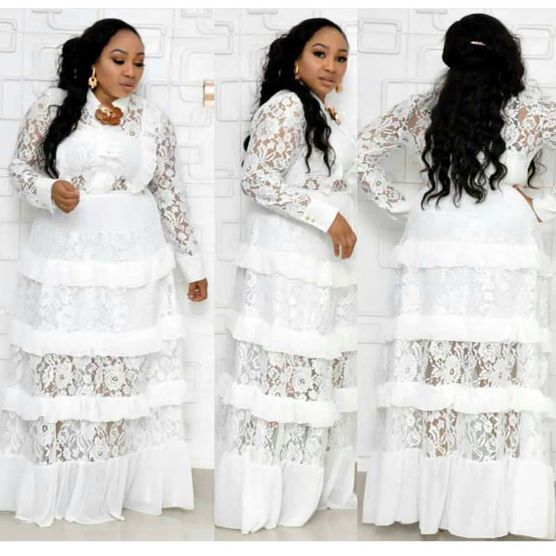 African Clothes Elegant Lace Maxi Dress Women 2019 Spring Long Sleeve Turn-down Collar Ruffles Robe Dress Partyclub Plus Size