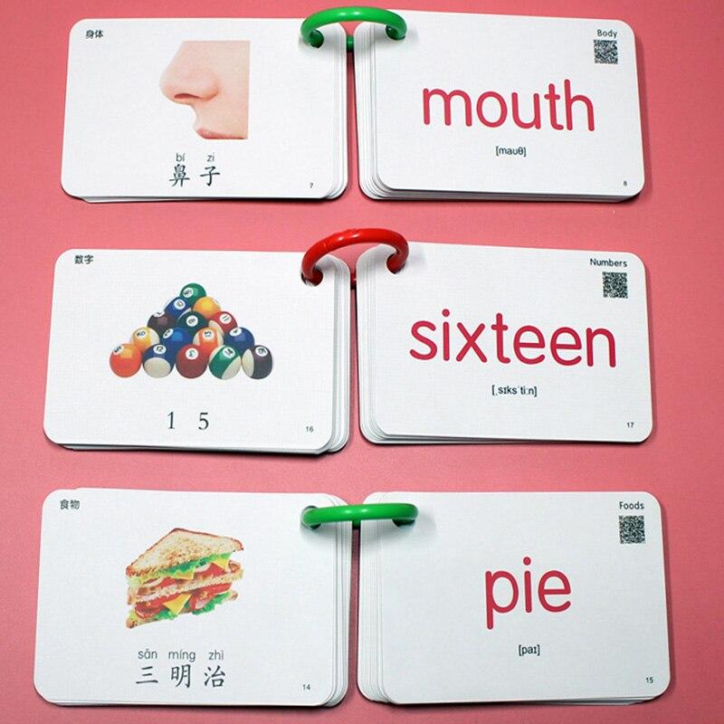 20 livres/ensemble 640 pièces enfants chinois et anglais cartes Flash carte de poche mot carte éducatifs d'apprentissage jouets pour enfants enfants cadeaux - 6