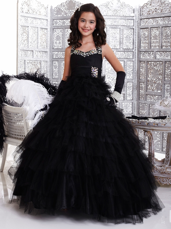 New A-Line   Flower     Girl     Dresses   With Halter Neck Ruched Waistband Pageant   Dresses   Floor-Length Zipper Up
