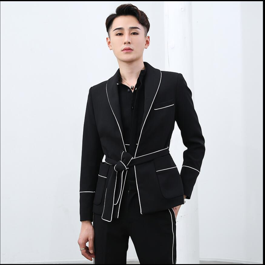 2020 Fashion Men Suits Two-piece British Style Casual Waist Belt Splice Color Matching Suit Hairstylist Singer Costumes
