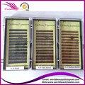 Envío gratis 2 bandeja por lote extensiones ceja de seda 5mm 6mm 7mm mix negro, de color marrón oscuro, med marrón y marrón claro, rojo marrón