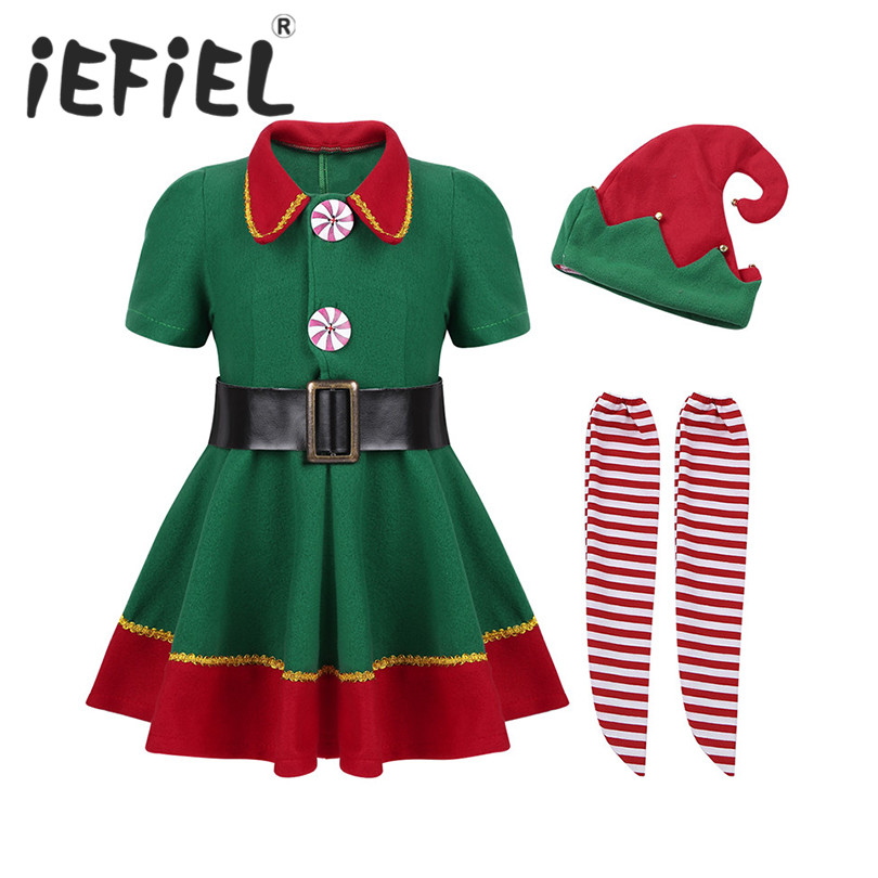 2018 Christmas Clothing Children Kids Girls Xmas Santa Claus Girl Cosplay Dress Sleeveless Costume Dress Up Fancy Party Clothes