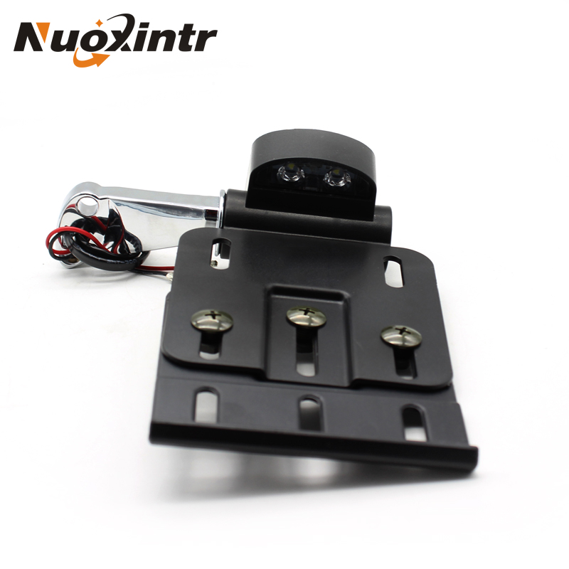 Nuoxintr Foldable LED Side Mount Motorcycle License Plate Light Bracket For Harley Sportster XL883 XL1200 2004-2016 motorcycle cnc aluminum headlight grill cover for harley sportster xl883 xl1200 2004 2014
