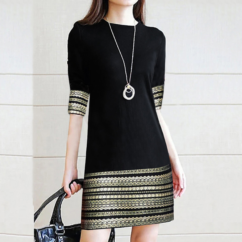 Dress Summer Dress Plus Size Fashion Women's Casual Vintage Elegant Splice Middle Sleeve Sexy Easy Mini Dress שמלותплатье Z4