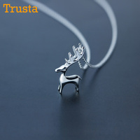Trusta 2017 New Women S Fashion 925 Sterling Silver Jewelry Wapiti Deer Pendant Short 40cm Necklace