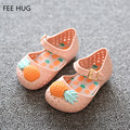2016 Fashion Summer Girls Sandals Shoes Children Shoes Baby Kids Funny Pineapple Jelly Sandals Girl Pu Beach Shoes 14-16.5 cm