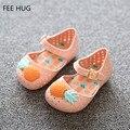 2016 moda meninas de verão sandálias sapatos calçados infantis do bebê crianças abacaxi engraçado sandálias da geléia menina Pu sapatos de praia 14 - 16.5 cm