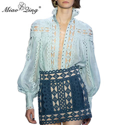 MIAOQING sexy beaded patchwork women's shirt stand collar lantern sleeve hollow shirt women's fashion summer 2019 new