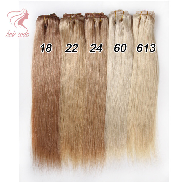 De cabeça cheia grampo em extensões de cabelo 100% virgem Remy brasileiro grampo de cabelo humano em linha reta extensão do cabelo 7 pçs/set clipe Ins