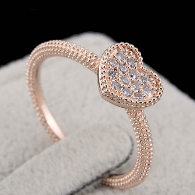 4c92598bb5 Pipitree Thin Love CZ Crystal Heart Ring Female Rose Gold Color Twist  Engagement Rings for Women Minimalist Jewelry