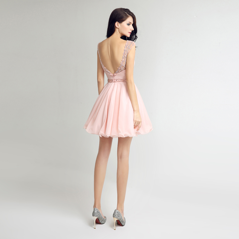 Sweety Homecoming Short Dresses 2017 With Jewel Zipper Chiffon Crystal Beading Party Prom Dresses 8th Grade Formal Dress LSX269