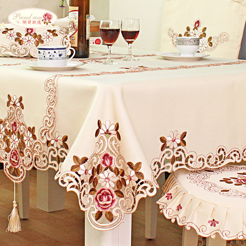Proud Rose Embroidered Round Table Cloth Tablecloths Table Runner TV Cabinet Cover Chair Cushion Home Decoration Table cover