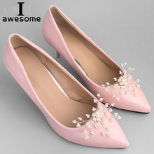 1 Pair Handmade Metal Beading Decorative Shoe Clips Charm Elegant Flower New Fashion Wedding Shoes Decorations Accessories