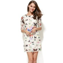 2017 Summer Women Crewneck Butterfly Floral Pattern 3/4 Sleeve Lace Causal Short Mini Dress YP98 ZU98