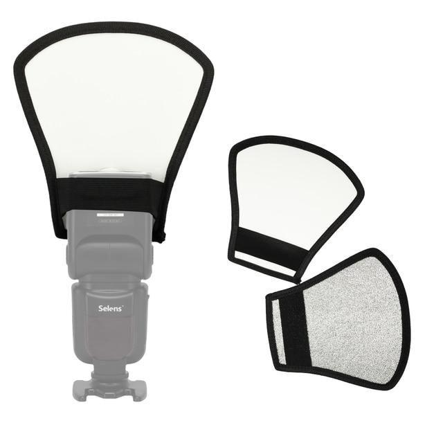 1 pcs 2-em-1 Prata/Branco Foto Softbox Luz do Flash Refletor Difusor Flash Da Câmera Para Canon câmeras Tamanho 11*18*20 cm