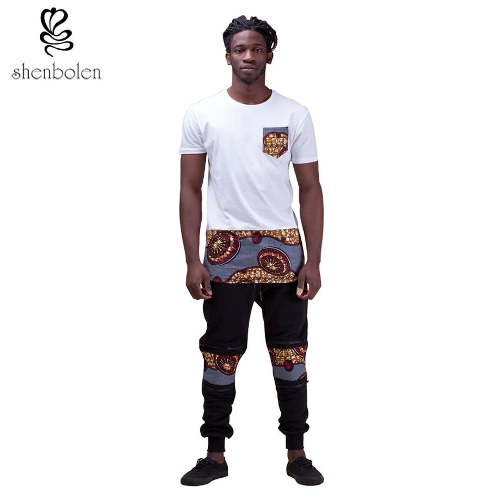 Shenbolen 2018 مجموعة ملابس الرجال الملابس الأفريقية أنقرة t-shirtc + السراويل الرجال الأزياء والملابس دعوى