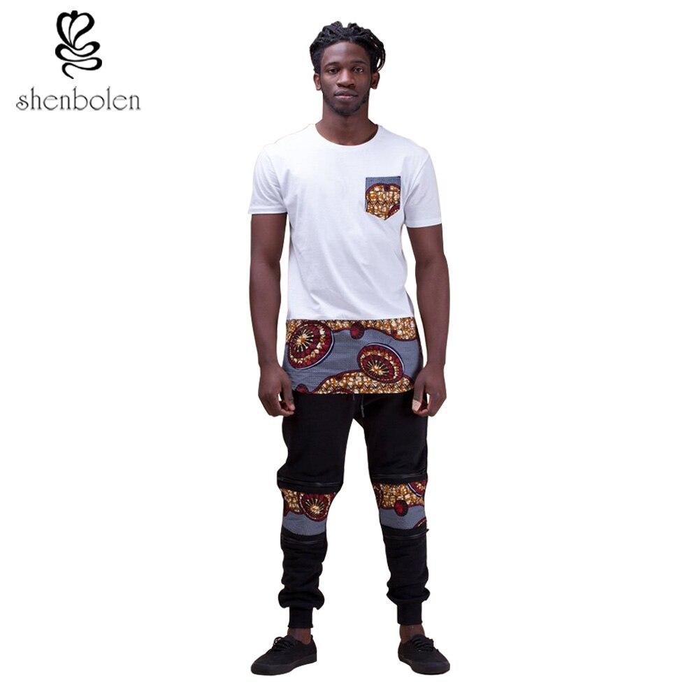 Shenbolen New Fashion African Clothing men's Clothes Set ankara T- Shirtc +Casual Pants  Men Fashion Clothes Suit