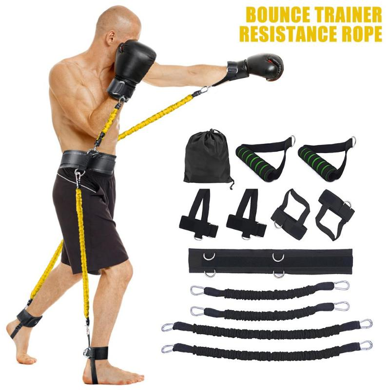 Bounce Trainer Resistance Pull Rope Exercises Fitness Resistance Bands Stretching Strap Set For Leg Waist Bouncing Training Tool