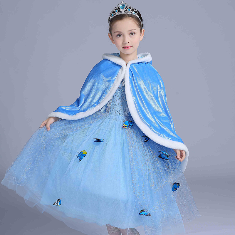 Qiu dong children dress long-sleeved Cinderella princess dress love Sally dresses of the girls men s korean version flaming sports car printing pattern short sleeve t shirt grey size xl
