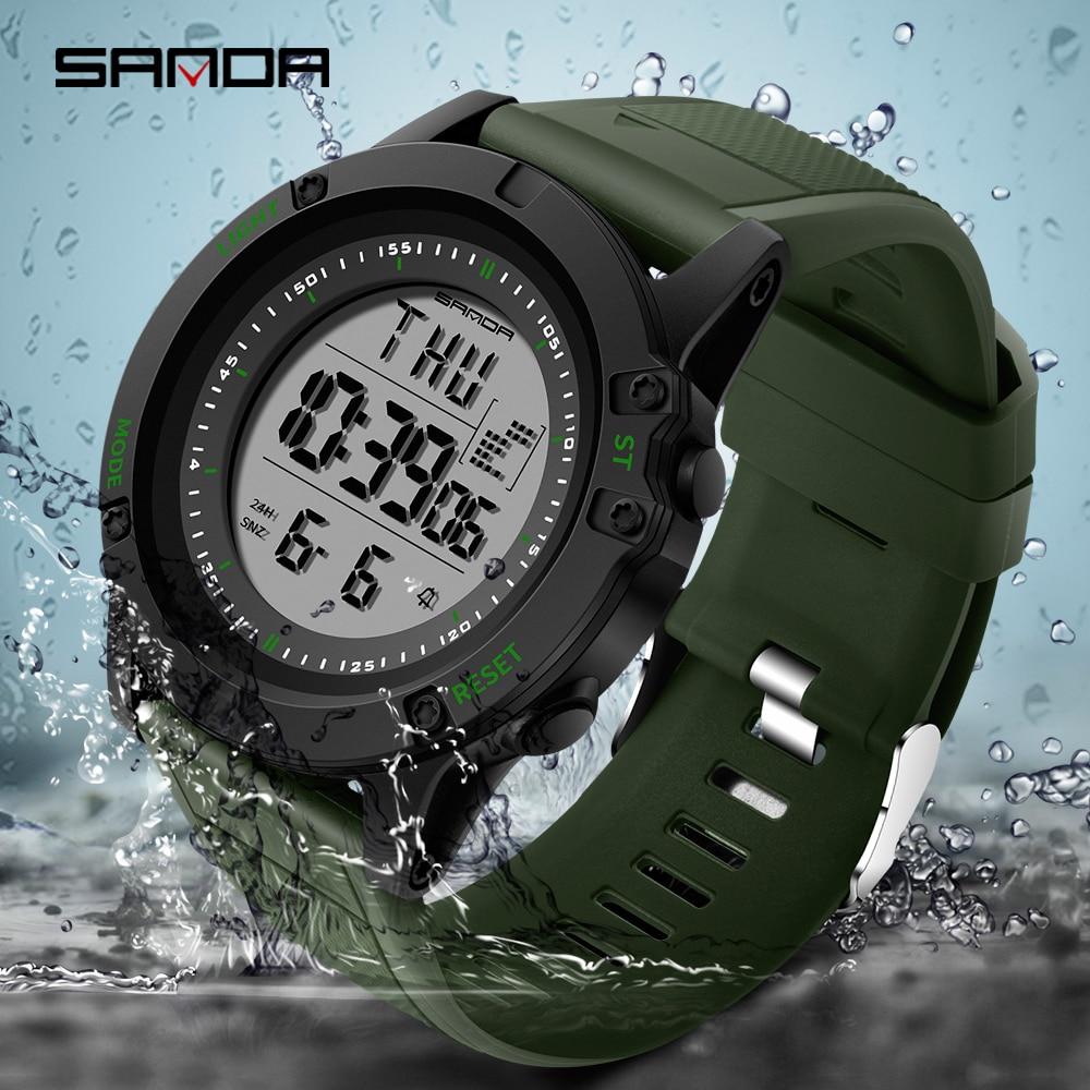 SANDA hombres reloj Top marca impermeable al aire libre de los hombres Digital Reloj militar impermeable reloj Relogio Masculino