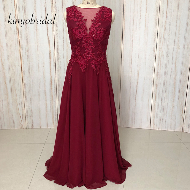 burgundy prom dresses lace appliques real picture beading sequins flowers  sheer crew evening dresses gowns arabic 2018 60b0289f15c9