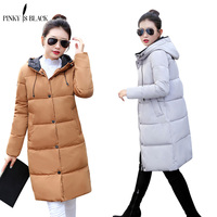 Pinky Is Black Winter Coat Women Clothing Outwear Long Slim Casual Fashion Parkas Thick Cotton Padded