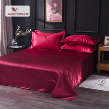 Slowdream Flat Sheet Wine Red Luxury Bed Linen Euro Silky Double Queen King Size Bedding Home Textiles 1PCS