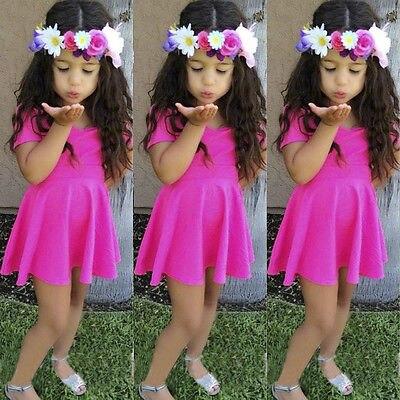 Kids Baby Girl Princess Short Sleeve Rose Dress Girl Summer Skater