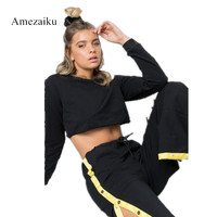 2017 New Casual 2pcs Clothing Set Women Black Yellow Crop Top And Pants Sporting Suit Ladies