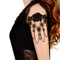 2017 Women Handmade Black Rhinestone Drop Black Lace Arm Bracelet Gothic & Vintage Fashion Jewelry