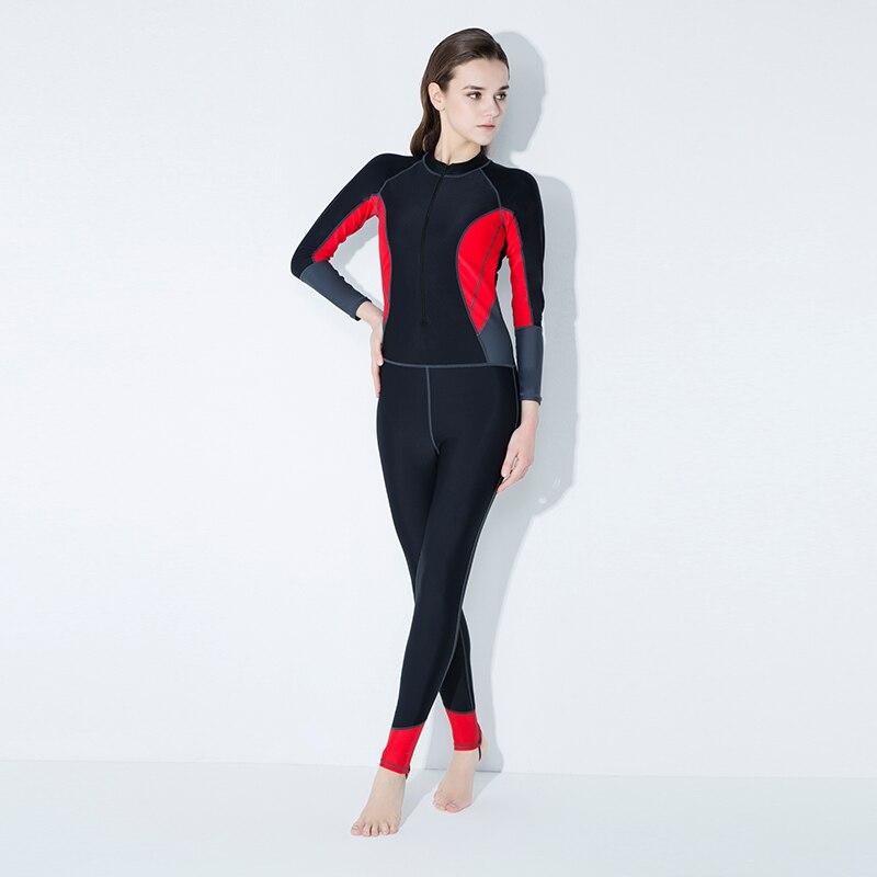2018 Juillet New Sexy Body Maillots de Bain crème solaire manches Longues pantalon Fermeture Éclair D'une seule Pièce Maillot de Bain Femmes Col Haut Maillots de Bain