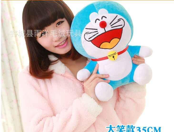 Indah plush tertawa doraemon doraemon mainan boneka lucu boneka sempurna hadiah sekitar 35 cm
