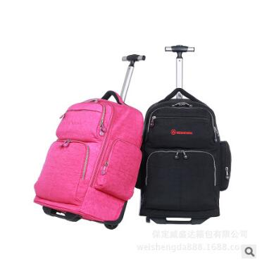 Travel trolley Rolling bag Men Oxford Travel trolley Luggage wheeled Rolling Backpack Unisex Business luggage suitcase on wheels